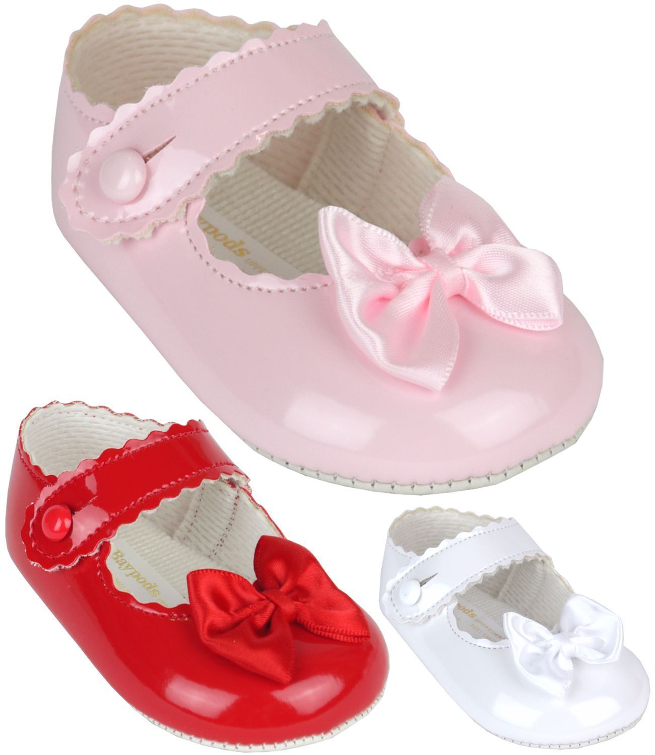 Babyprem Baby Girls Classic Baypods Pram Shoes White Pink Red 0 18