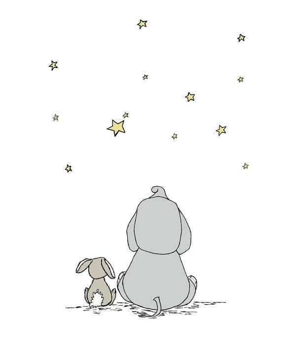 Elephant Nursery Decor - Elephant and Bunny - Make A Wish With Me - Safari Nursery Decor - Star Nursery Art