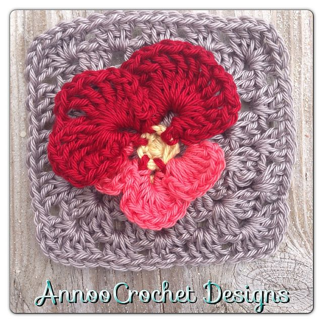 Pansy flower granny square (pattern) by Annoocrochet blog   Stitches ...
