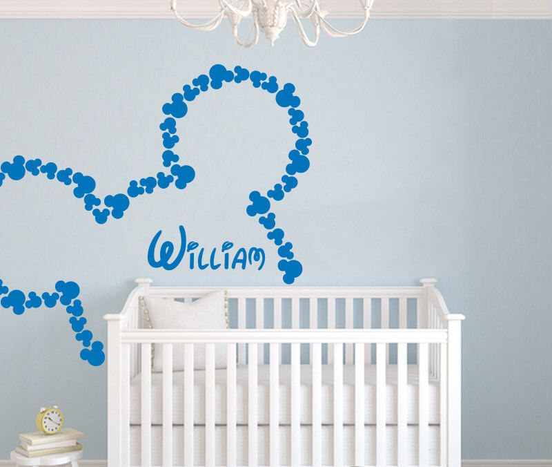 Wall Decal Vinyl Sticker Decals Art Home Decor Design Mural Disney Personalized Custom Baby Name Head Mice Ears Mickey Mouse Gift Kids AN302 by TrendyWallDecals on Etsy https://www.etsy.com/listing/209106597/wall-decal-vinyl-sticker-decals-art-home