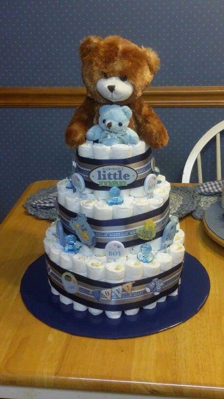 It S A Boy Teddy Bear Diaper Cake Diy Baby Shower Gifts Baby