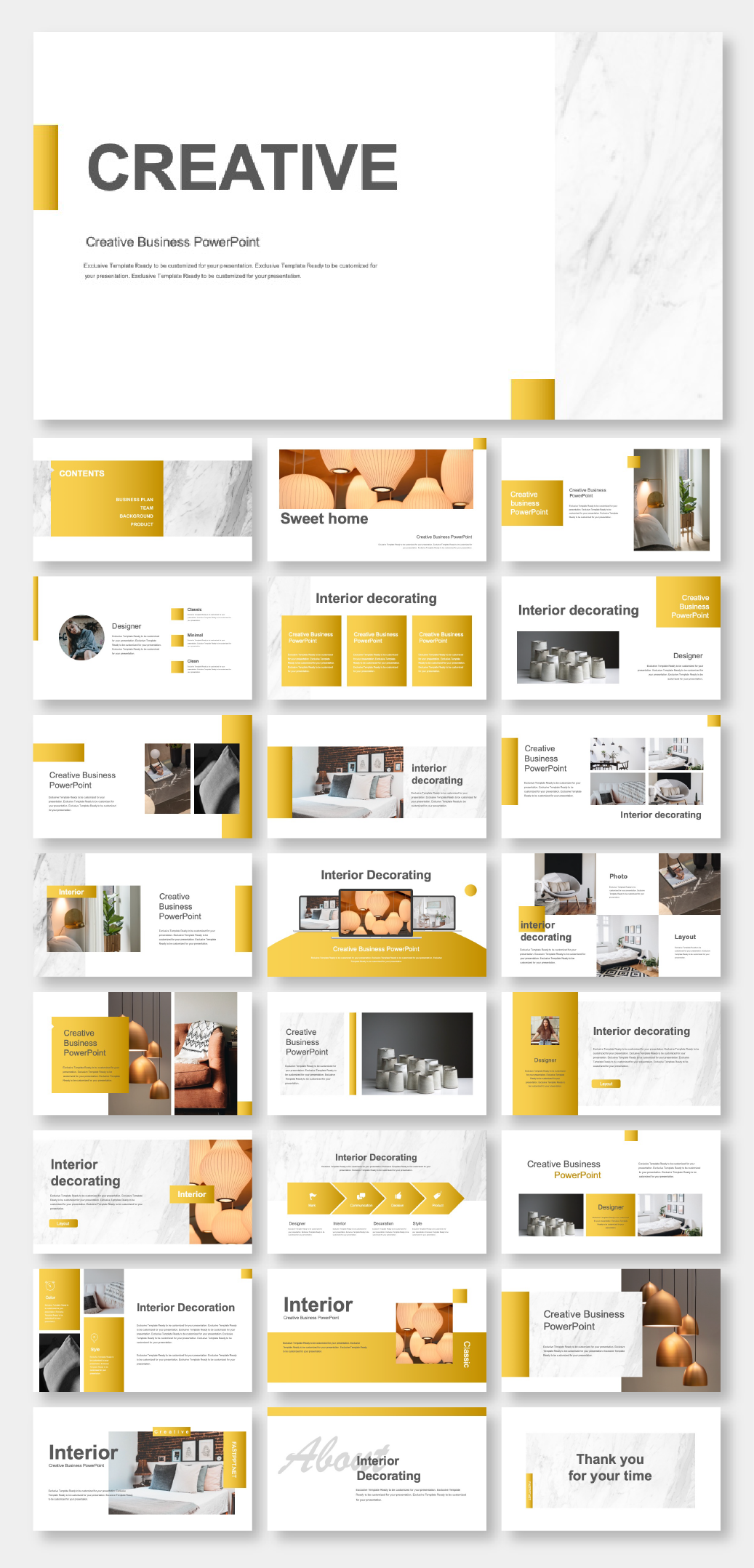Gold Creative Interior Design Powerpoint Template Original And