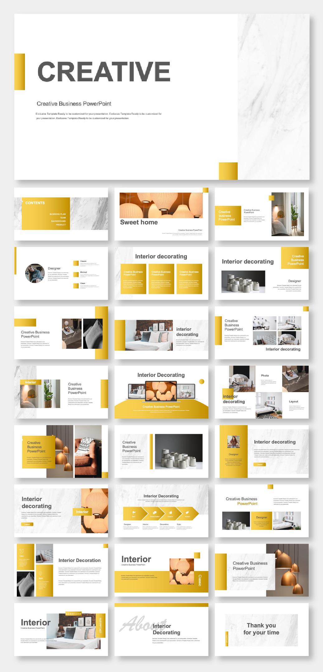 Gold Creative Interior Design Powerpoint Template Original And