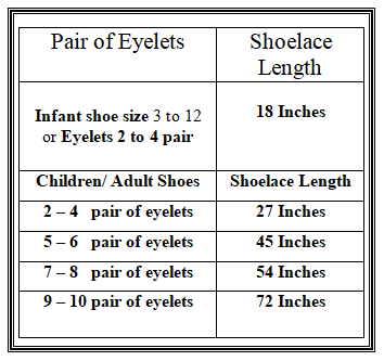 Shoelace Length Guide These Are Industry Standards On What Length Your Shoelace Should Be In Rel Shoe Laces Baby Shoe Sizes Personalized Embroidered