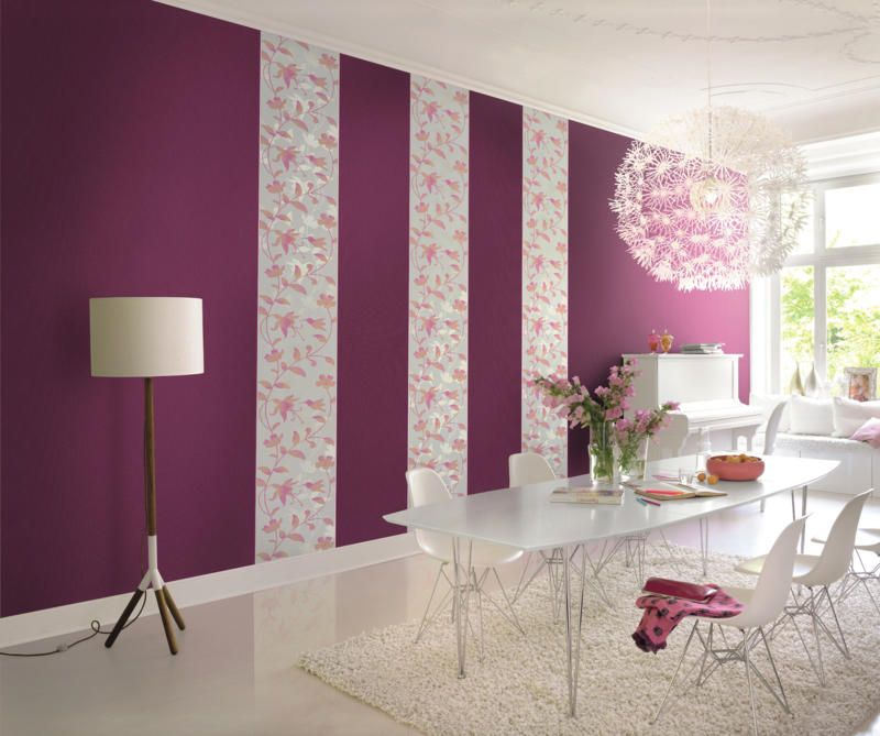 Wandgestaltung in Fuchsia Esszimmer farben, Wandgestaltung und - wohnzimmer farben braun grun