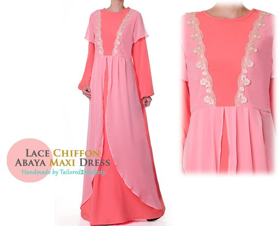 72834871eb66 Pink Lolita Dress   Abaya Maxi Dress Long Sleeve   Pink Baby Shower Dress   Long  Sleeve Maxi Dress