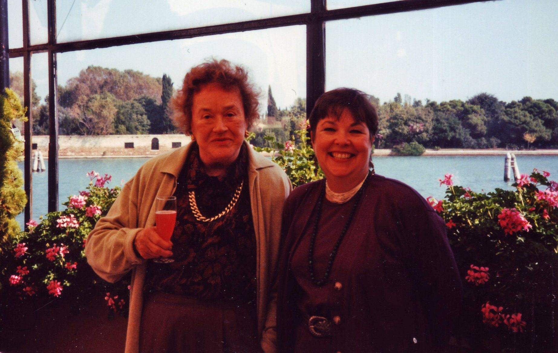 "In two consecutive Octobers, 1994 and 1995, Patty Delony had the exceptional pleasure of taking cooking classes with Julia Child at the elegant Cipriani Hotel in Venice. Julia was just as fun and charming as everyone always said. One of the most memorable moments was when, standing at the front of the room teaching the class, Julia looked around the room and said in that inimitable voice, ""Well, it appears that everyone but me has a glass of wine!"" - submitted by Toria Emas"