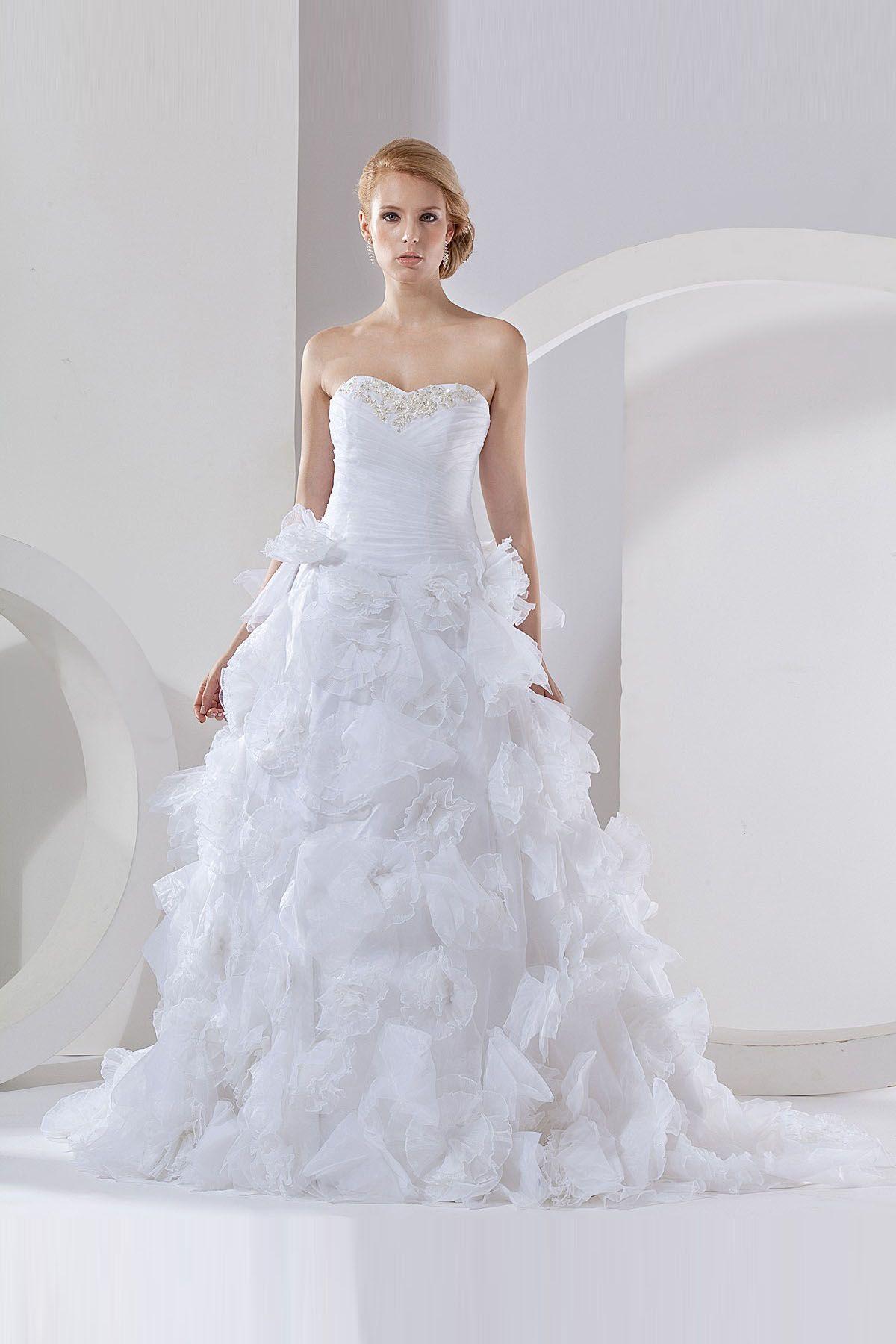 Sheath White Organza Chapel Train Sweetheart Wedding Dress