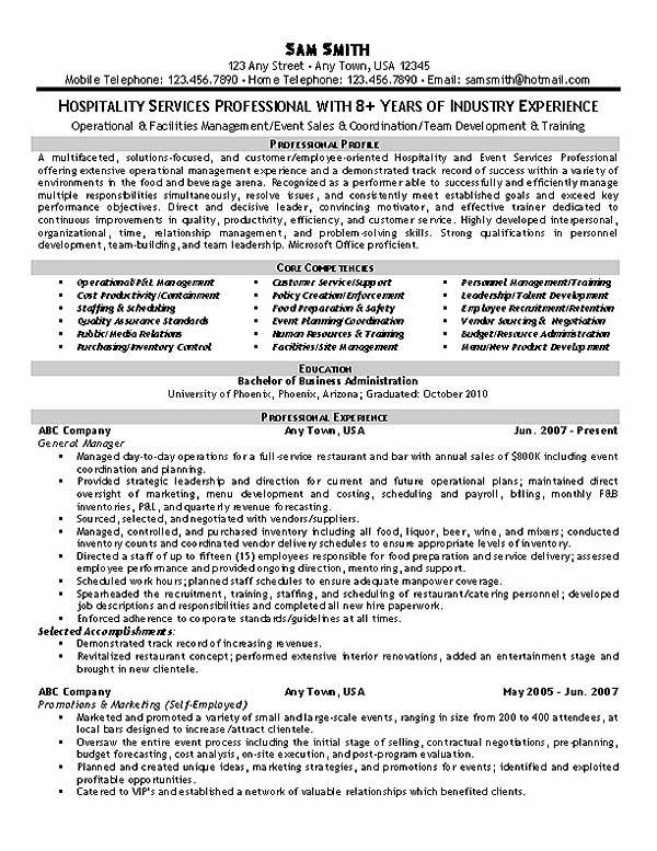 Hospitality Resume Example Resume examples and Hospitality - restaurant manager resume template