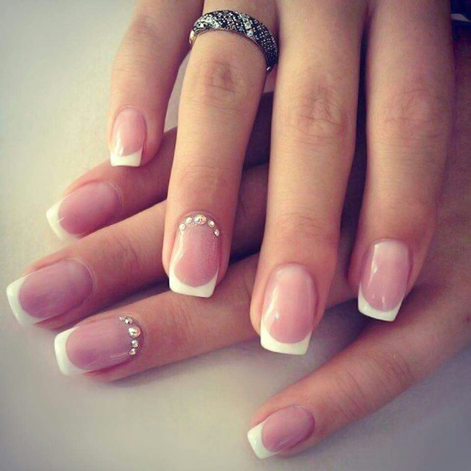 The Nails Start Off With Natural Clear Polish Base And Finished A Thin White Tip Shaping Square
