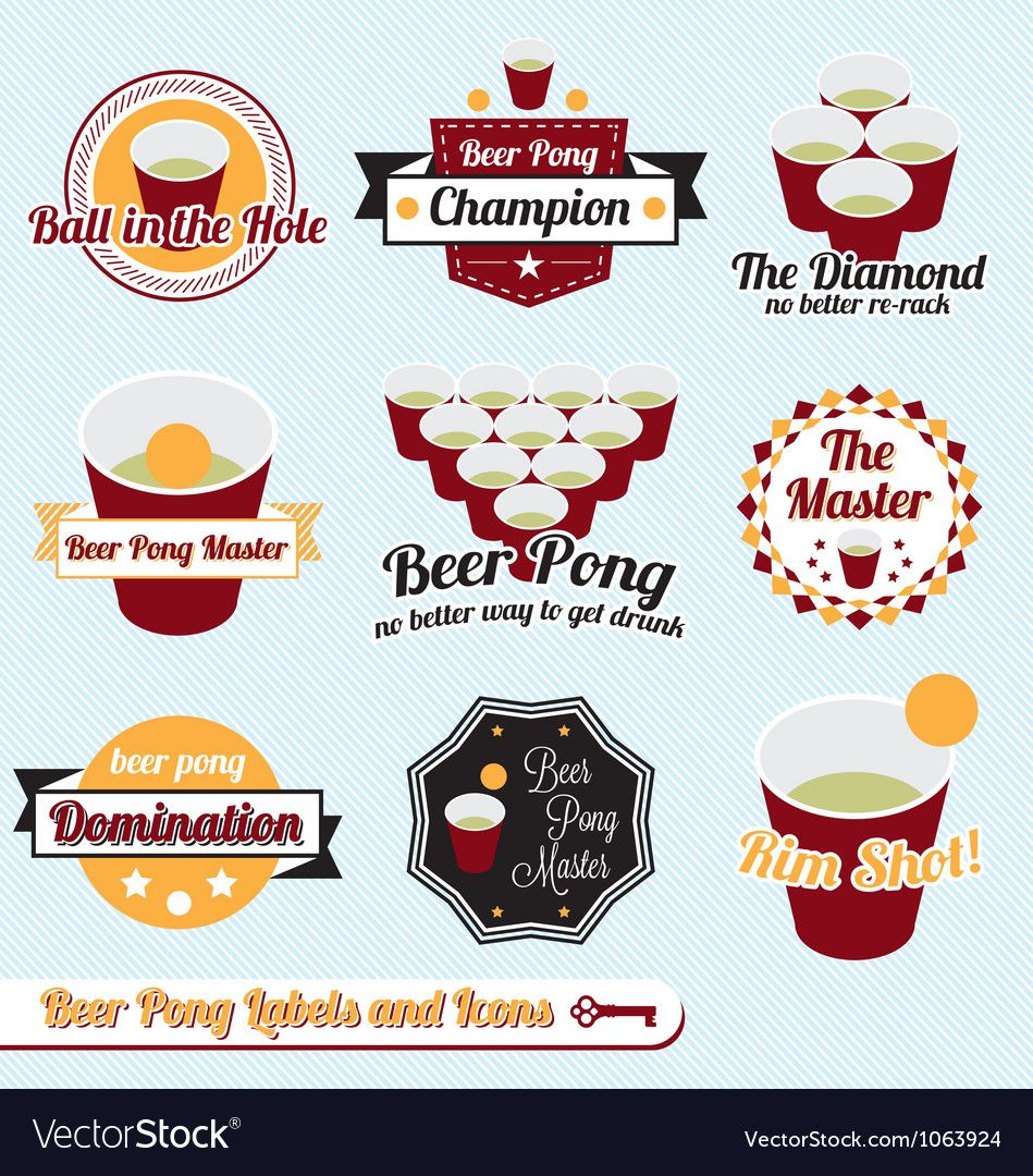 Beer Pong Labels Royalty Free Vector Image Vectorstock Affiliate Labels Royalty Beer Pong Ad Beer Pong Paw Print Stickers Photography Labels