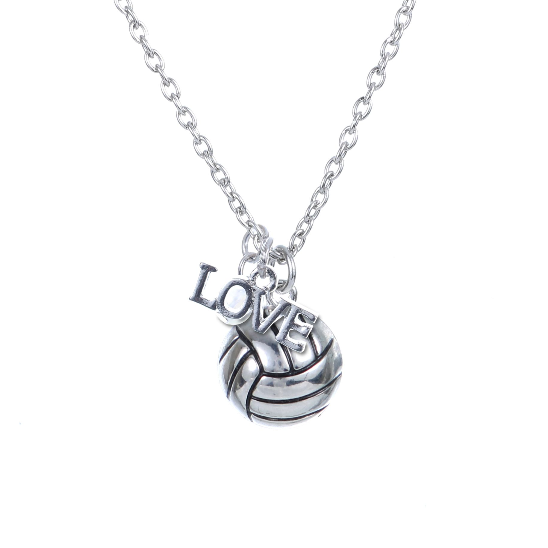 Customizable Volleyball Love Silver Necklace Volleyball Voley Voleibol Balones