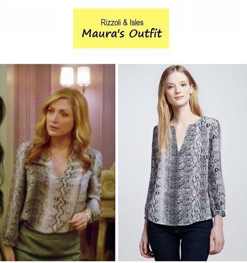 9000ae3480b5d On the blog - Maura Isles  (Sasha Alexander) snake print split neck silk  blouse