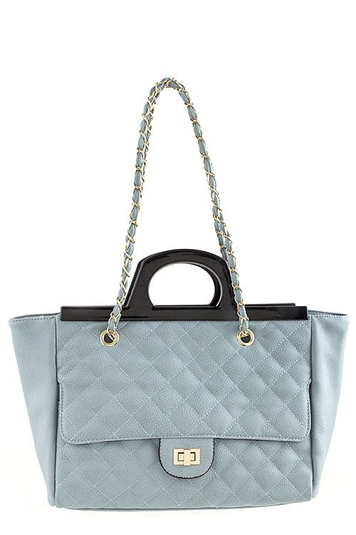 702a36453e9d EMBOSSED DIAMOND DESIGN TRAPEZOID BAG WITH ACRYLIC HANDLE -Blue ...