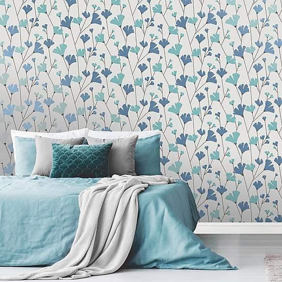 Scandi Blue Floral Wallpaper Blue floral wallpaper