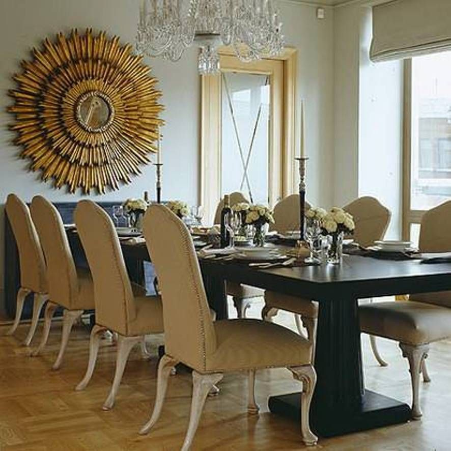 Home design and decor decorative sunburst mirror wall decor dining room with large table and - Design and decorations for dining room walls ...