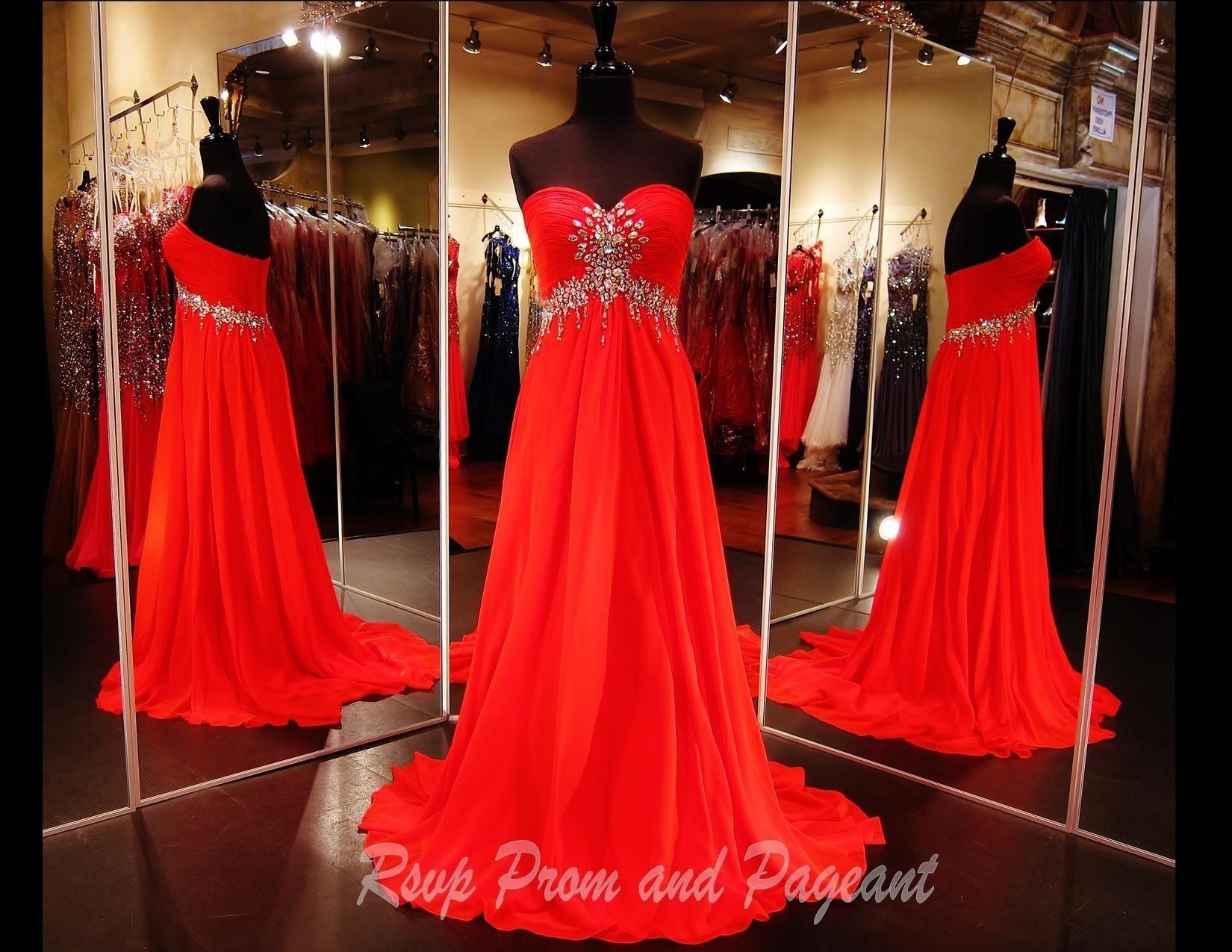 Strapless Red Chiffon Long Dress (SALE)