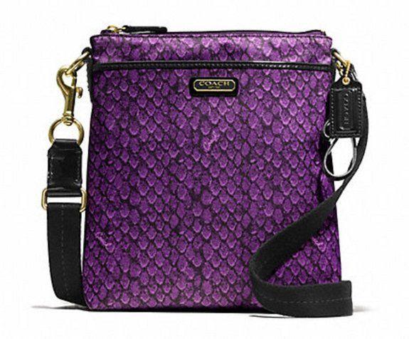 464a51b364b0 Coach Taylor Snake Print Swingpack Crossbody Purse 50065 Purple    95.72