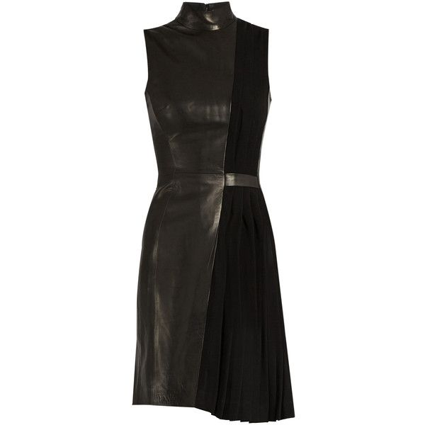Mugler High-neck leather and pleated-cady dress (17.745 ARS) ❤ liked on Polyvore featuring dresses, vestidos, black, panel dress, high neckline dress, pleated dresses, short dresses and short leather dress