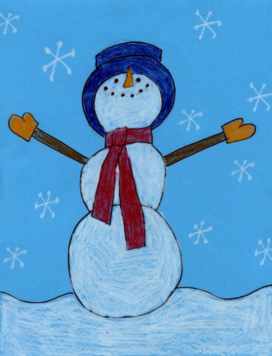 Draw A Snowman Looking Up Art Projects For Kids Kids Art Projects Winter Art Lesson Winter Art Projects