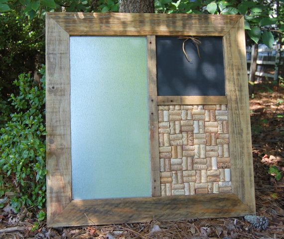 Message Board Wall Organizer is made from a reclaimed shipping pallet... Black Chalkboard for handwritten notes...Recycled Wine Cork Board ...Magnetic Message Board.