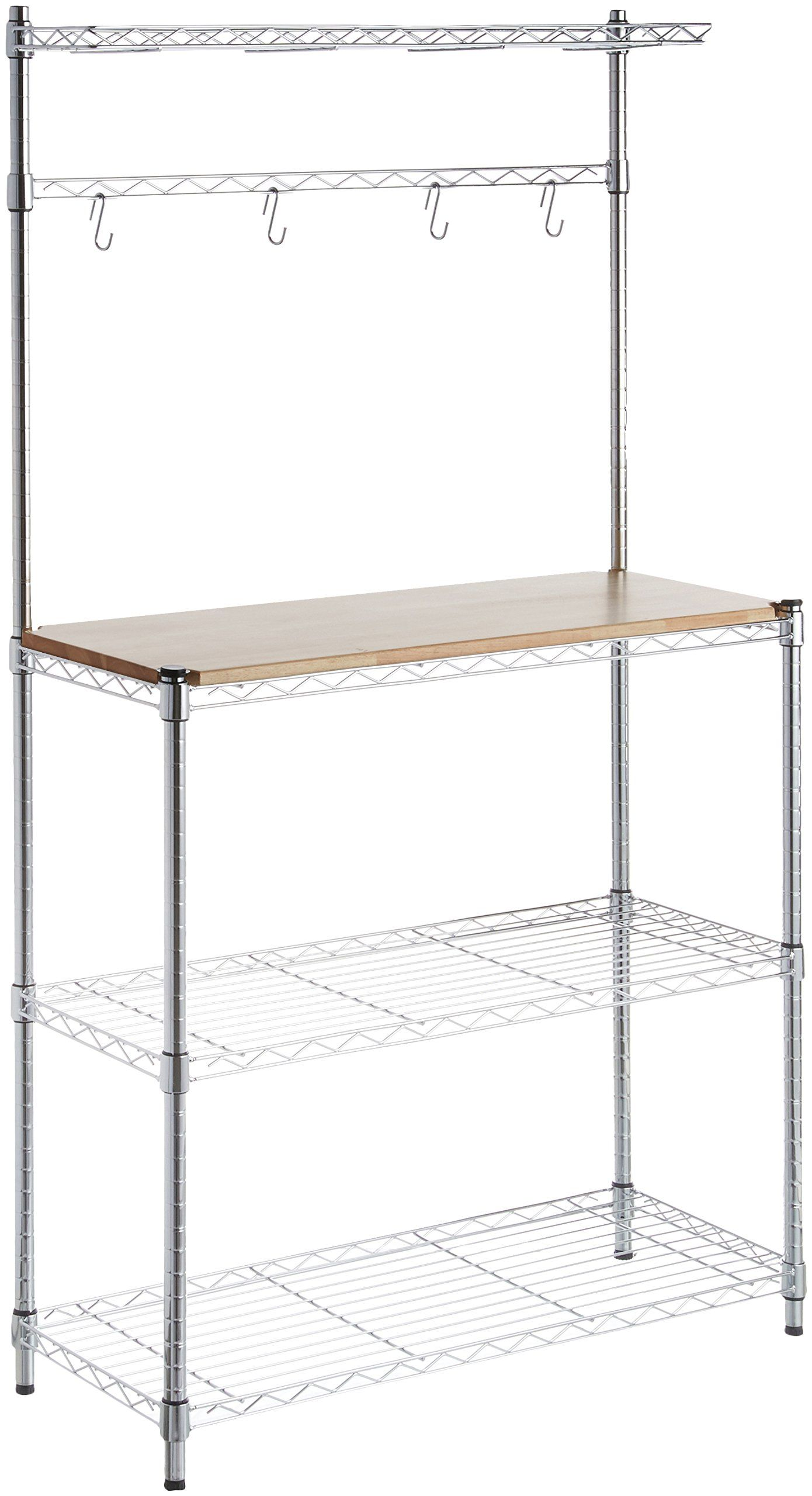 Amazonbasics Kitchen Storage Bakers Rack With Table Wood Chrome