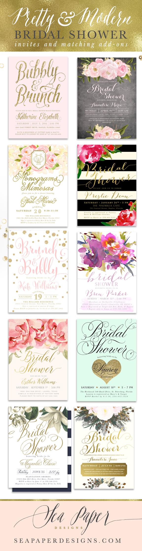 Pretty, Classy & Modern Bridal Shower Invitations, matching add-on ...