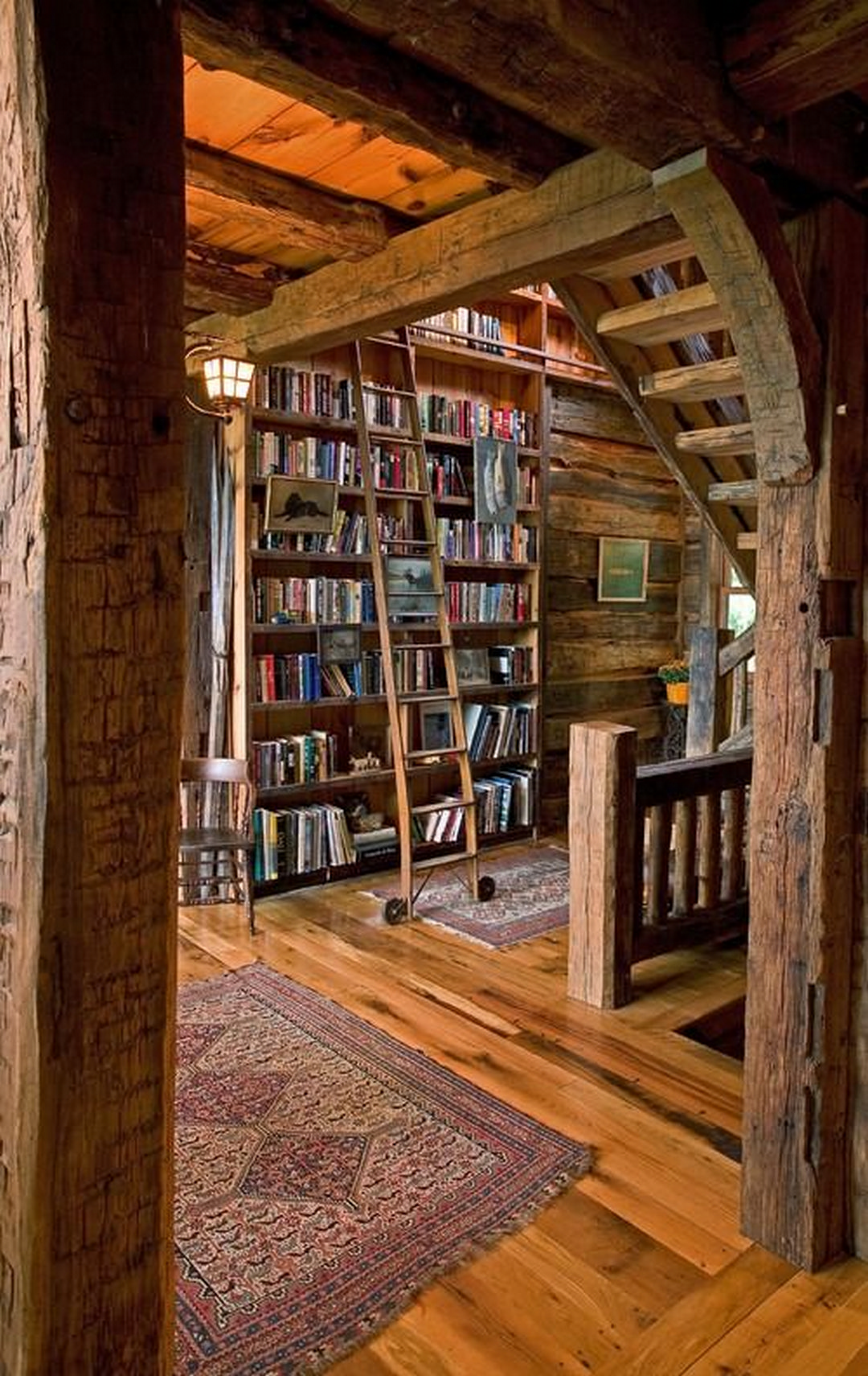 Medium Of Rustic Home Library