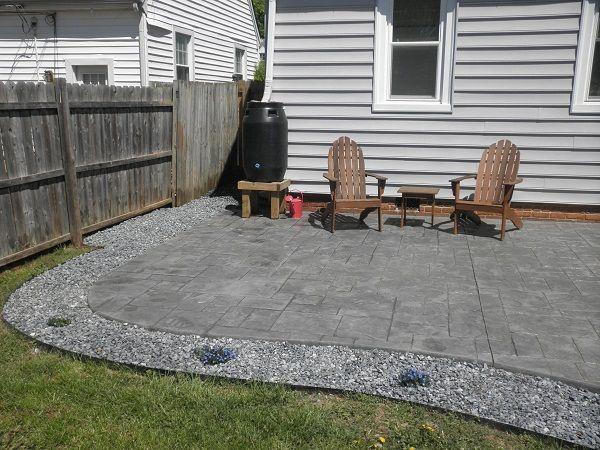 patio with rock border - sunk metal