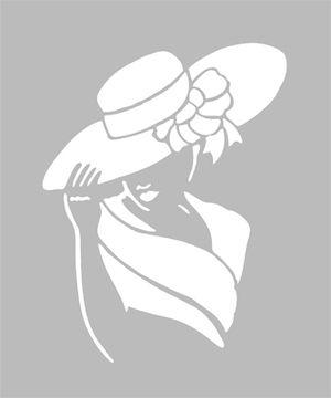 Pochoir adh sif home d co 14 x 10 cm femme chapeau - Pochoir deco gratuit a imprimer ...