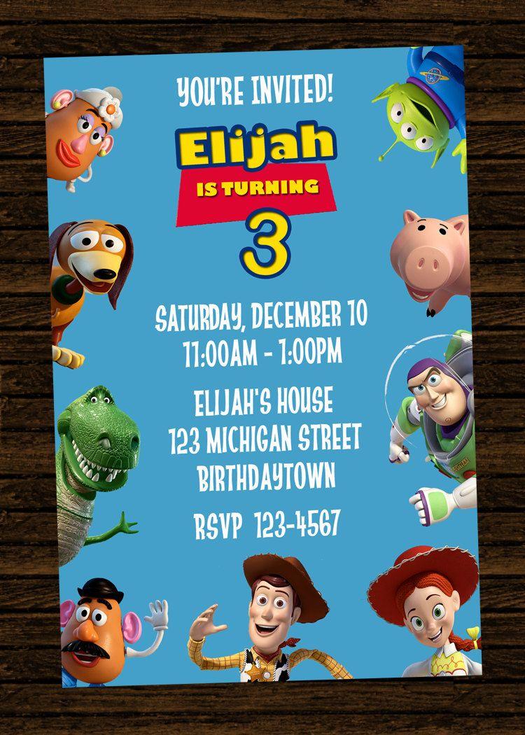 Custom toy story inspired birthday party invitations diy