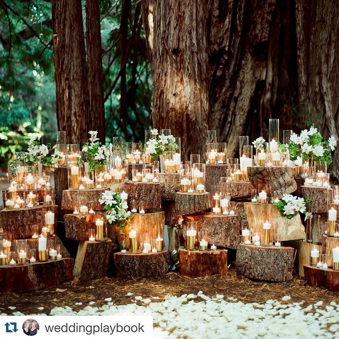 Forest Wedding Altar: Such A #romantic #wedding Idea! Gold Dipped Candles And