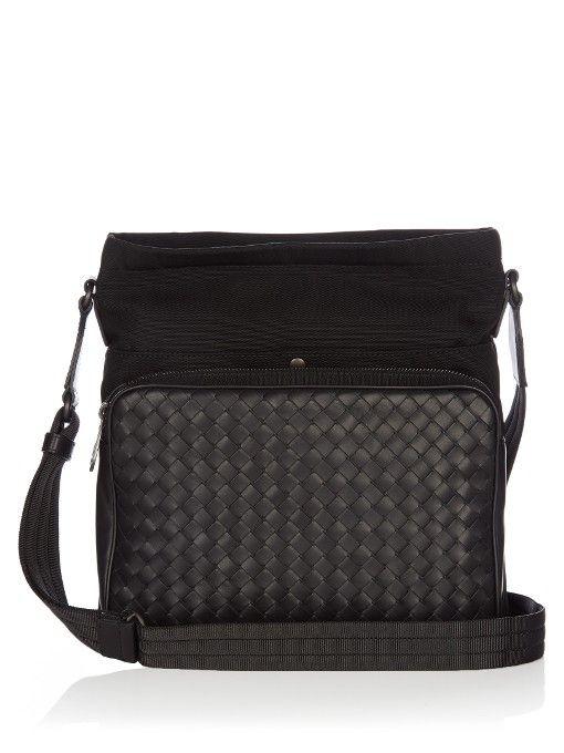 2baebc279c1d BOTTEGA VENETA Canvas And Intrecciato Leather Messenger Bag.  bottegaveneta   bags  shoulder bags  leather  canvas  lining