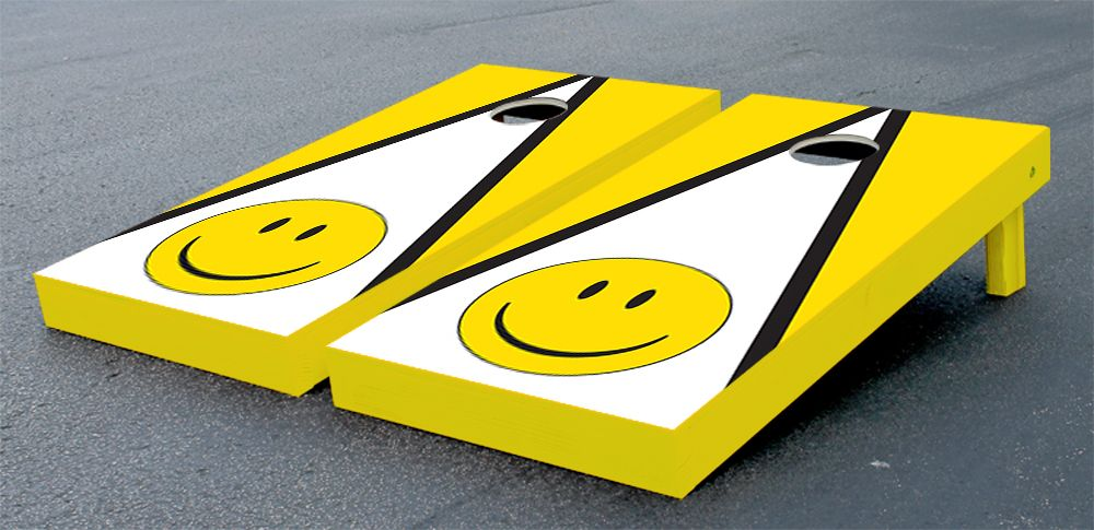 Our Smiley Face Triangle Cornhole Bean Bag Toss Game. Get your custom cornhole game set at victorytailgate.com