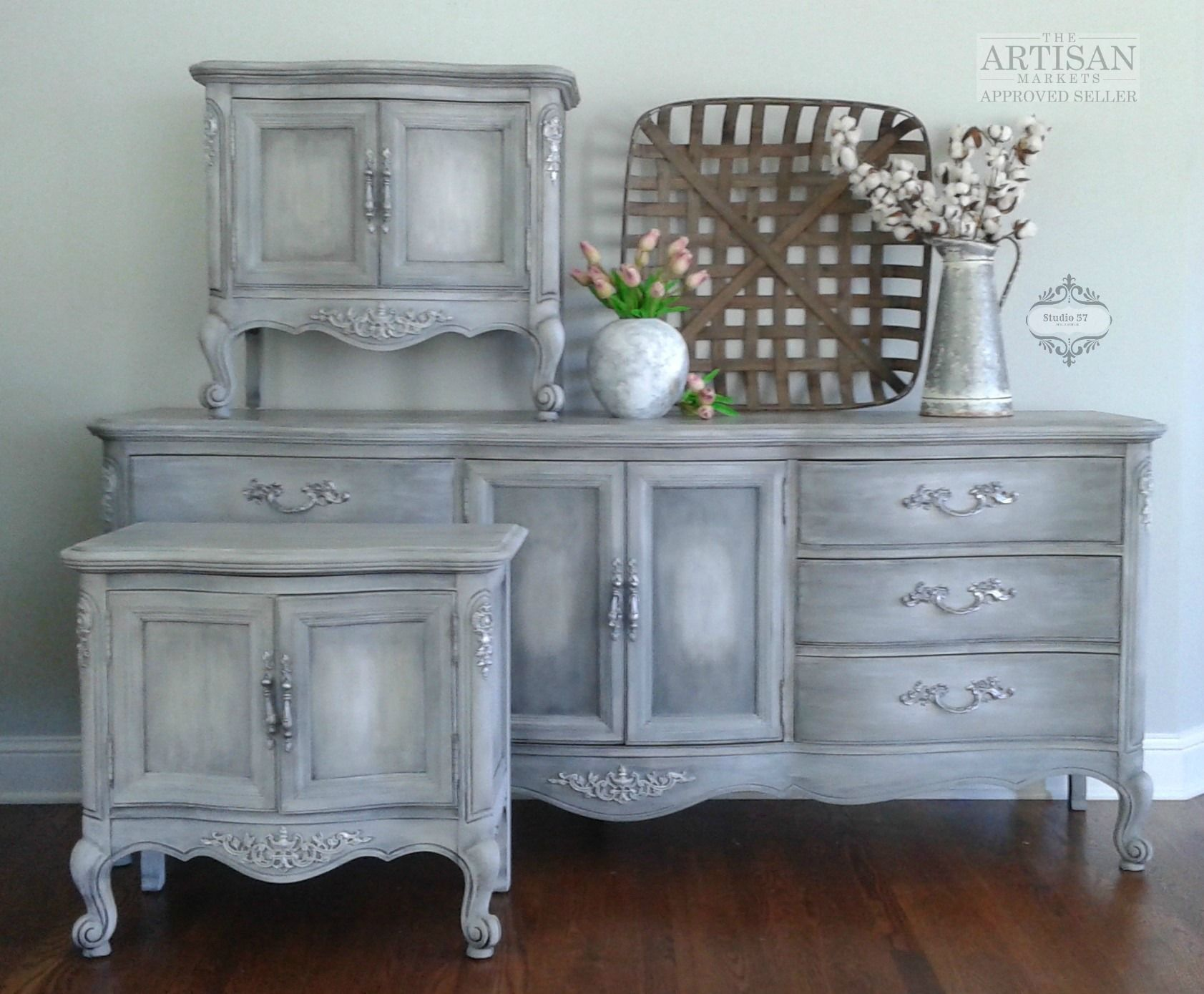 Grey french country bedroom french country cottage style bedroom set  finished in annie sloan
