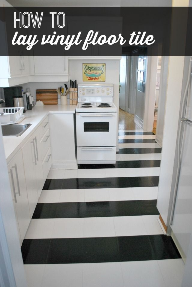 A Dull Kitchen Gets Transformed With Peel And Stick Vinyl Black And White Floor  Tile Laid In A Striped Pattern. Super Chic On A Tiny Budget! Full Tutorial.