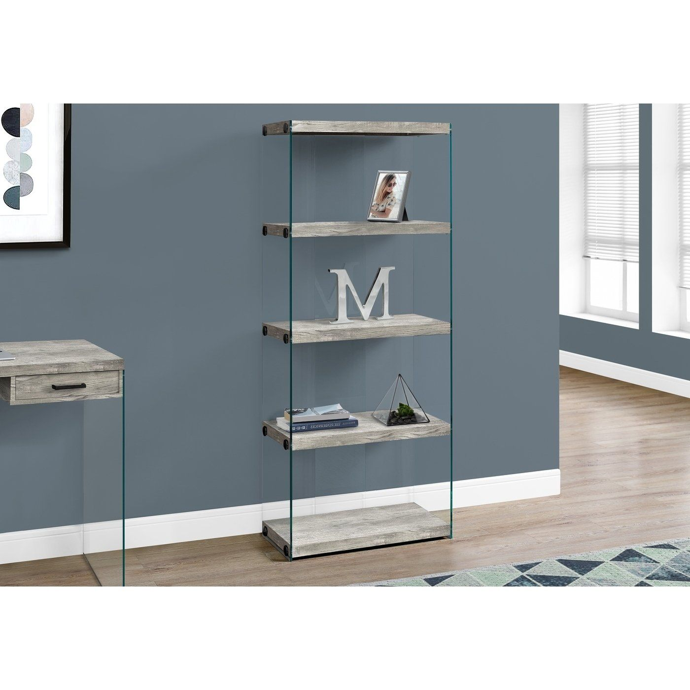 Bookcase 60 H Grey Reclaimed Wood Look Glass Panels Gray