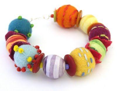 Jennifer Jangles ceramic and felt beaded bracelet
