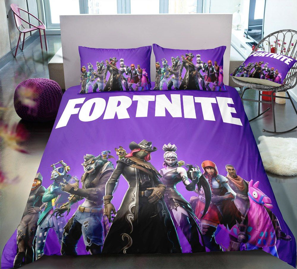 Purple Flower 3D Quilt Duvet Doona Cover Set Single Double Queen King Print