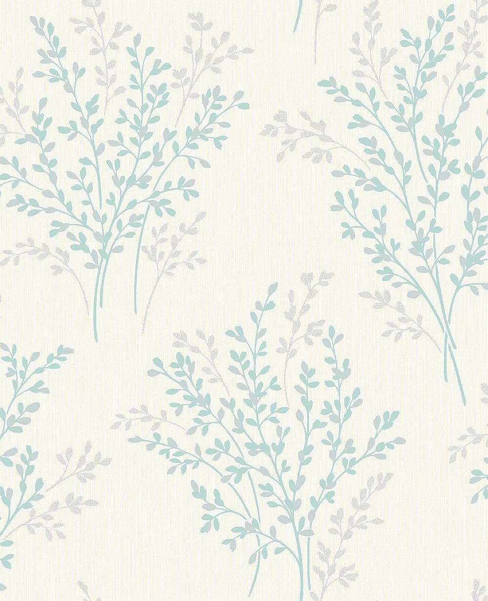 Home diy wallpaper illustration arthouse imagine fern plum motif vinyl - A Pretty Glitter Design With A Teal Coloured Fern Motif On A Soft Neutral Background