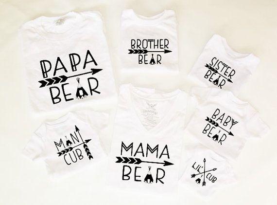 Customizable Colors Mama Bear Baby Bear Lil Cub Papa Bear
