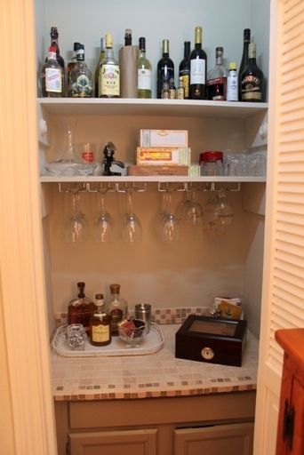Dry bar in a closet it could go in our water tank closet for Diy dry bar