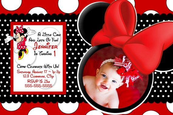 Awesome Free Template Red Minnie Mouse Birthday Invitations Faiths