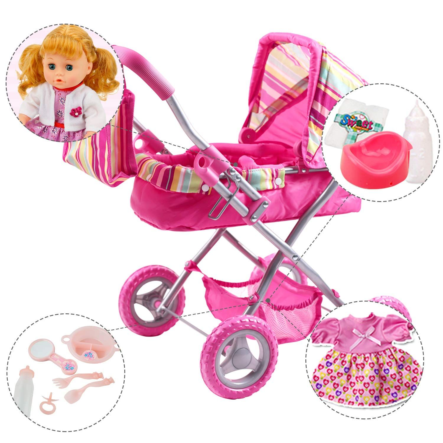 iPlay iLearn Foldable Doll Stroller with Hood My First