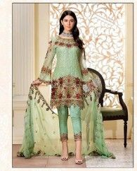 LIGHT GREEN EMBROIDERED PAKISTANI SUIT