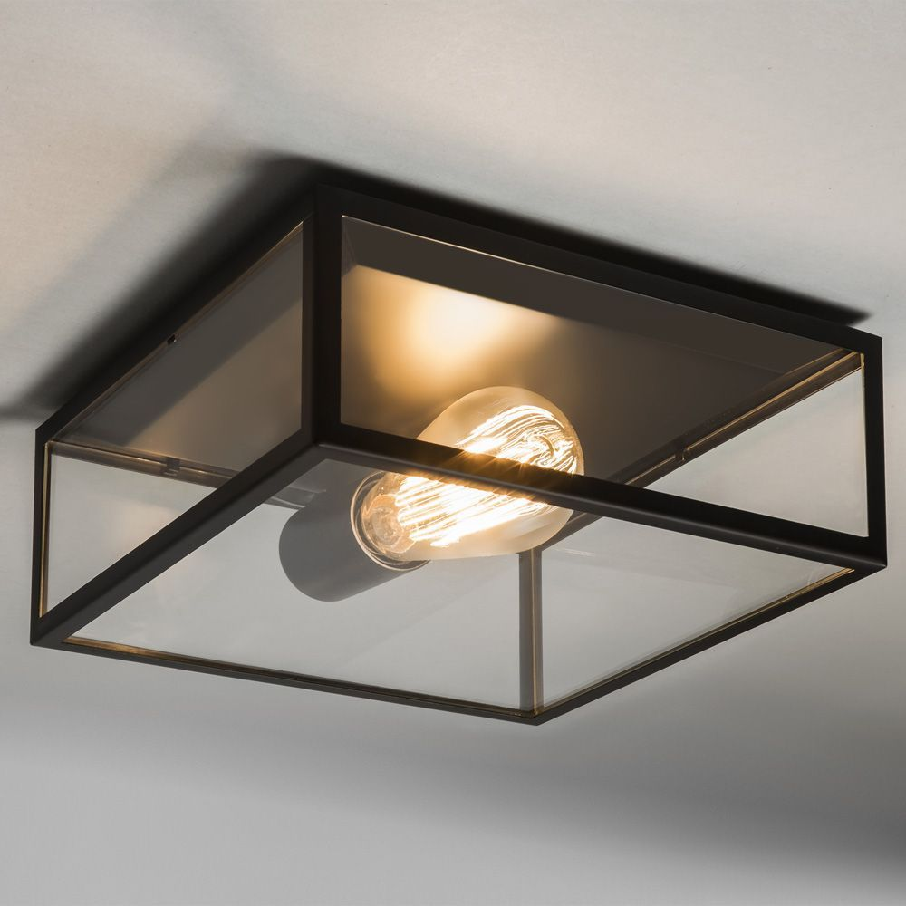 Astro Lights Bronte Ceiling Light in Black with Clear