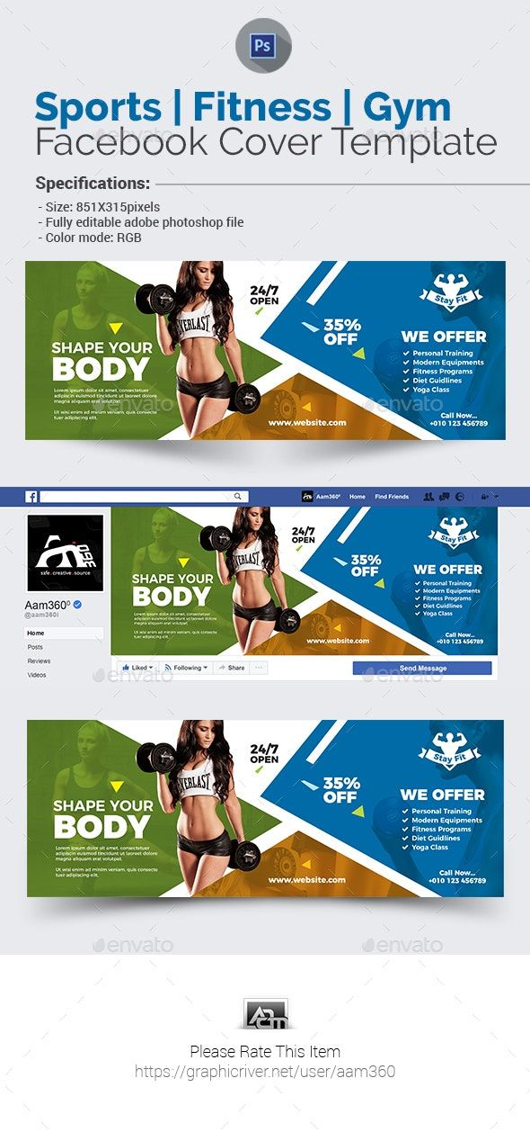 Sports  Fitness Facebook Cover Template #Affiliate #Fitness, #Aff, #Sports, #Facebook, #Template