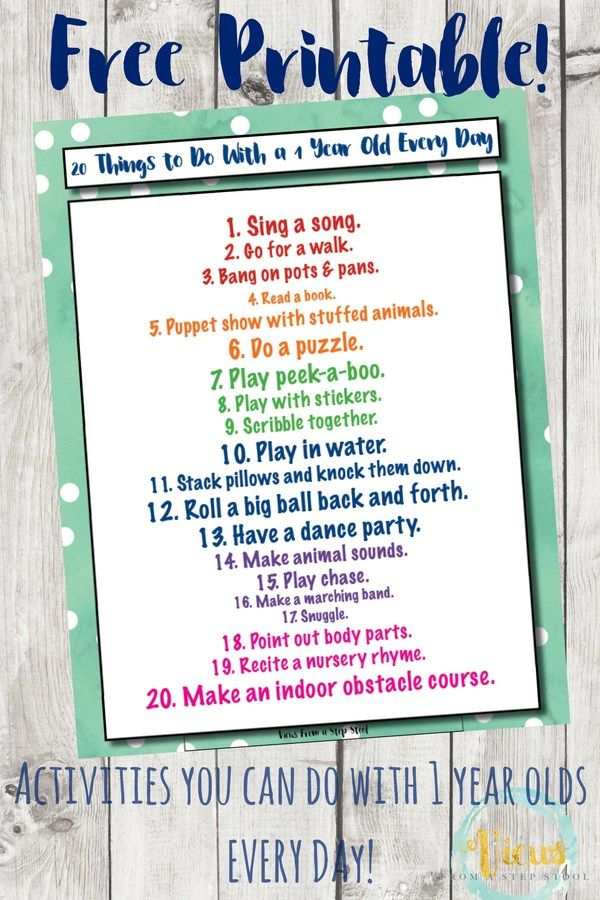 Activities For 1 Year Olds You Can Do Every Day Printable Activities For 1 Year Olds 1 Year Olds Infant Activities