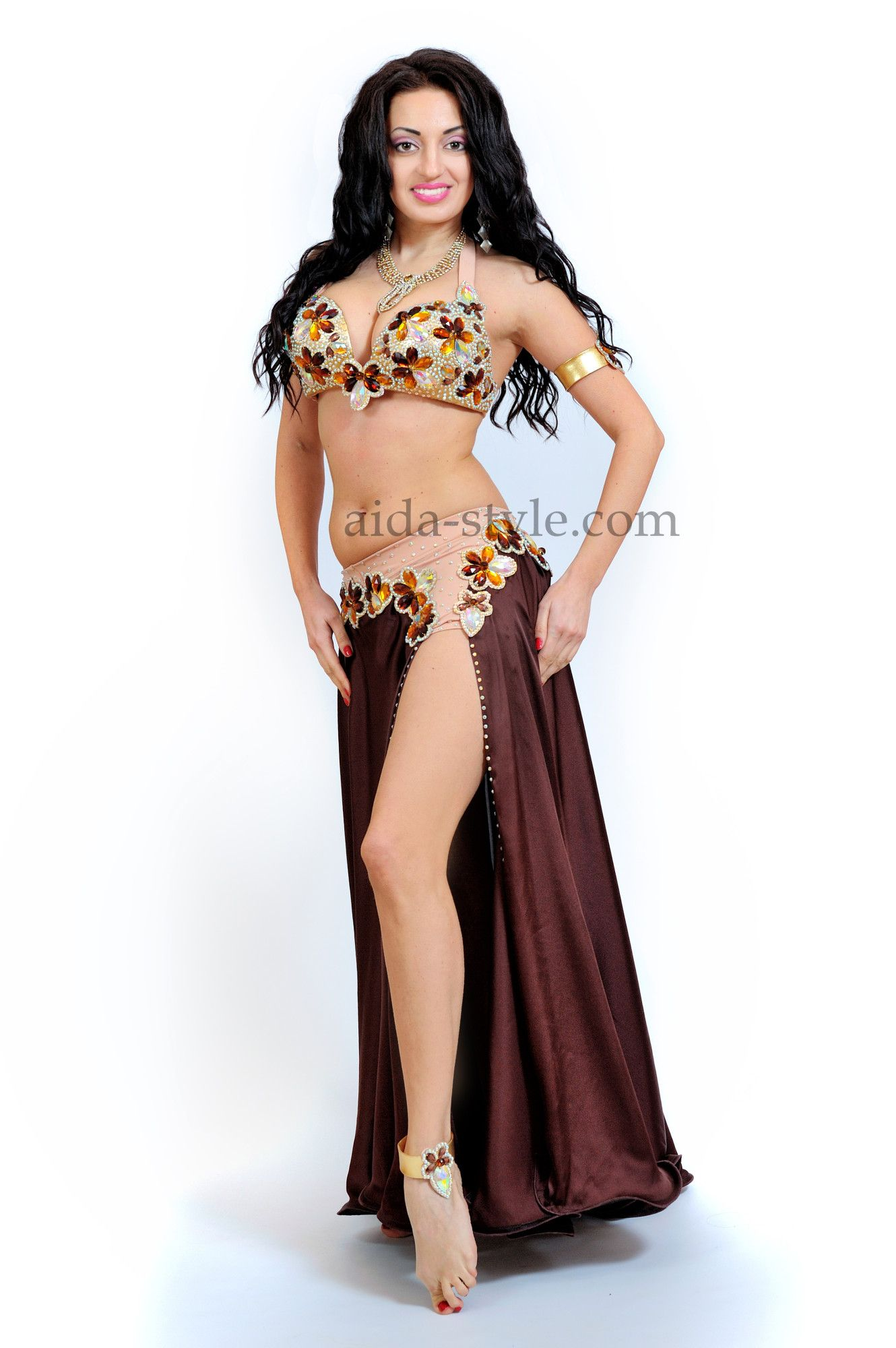 84fb974c084f Beautiful brown professional belly dance costume decorated with golden  stones
