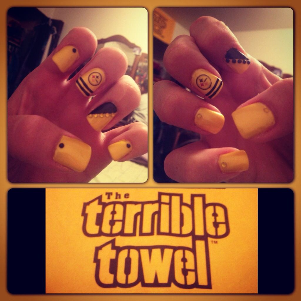 Pittsburgh Steelers nail art! i wanna do it   Nail Art   Pinterest ...